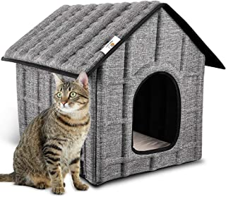 PUPPY KITTY Cat House Insulated Foldable Pet House with Removable Soft Mat for Indoor/Outdoor Warm Bed for Cat,Puppy Dog,Rabbit in Winter