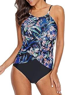 EVALESS Women Floral One-Piece Swimdress Skirted Tummy Control Swimwear Beachwear