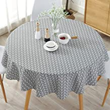 Mokia Round Tablecloth,Faux Linen Round Table Cloth,Table Cover for Kitchen Dinner Table, Decorative Jacquard Table Desk C...