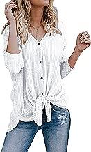 Imily Bela Womens Waffle Knit Tunic Blouse Tie Knot Henley Tops Bat Wing Plain Shirts