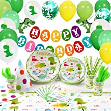 Dinosaur Party Supplies, Plates Cups Napkins Tablecloth Hats Balloons Happy Birthday Banner Decorations 127 PCs Serve 12, Dinosaur Birthday Party Supplies Set