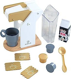 KidKraft 53538 Kids Play Kitchen Wooden Toy Coffee Set in Modern Metallic Colours, Play Kitchen Accessory