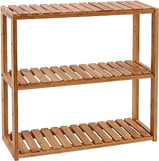SONGMICS Estantería de Bambú para Baño Librería Organizador Estantería de Almacanamiento de Pared 60 x 15 x 54 cm BCB13Y
