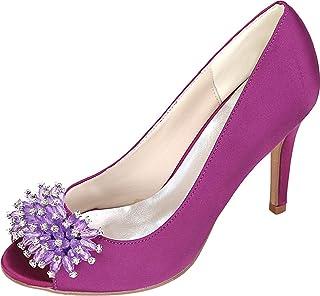Vimedea Womens Heeled Peep Toe Slip On Wedding Dress Pumps Prom Bride Party Y5623-12Z