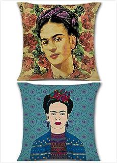 Adecuado para la funda de almohada de autorretrato de Frida Kahlo, funda de almohada con estampado mexicano de 17.7