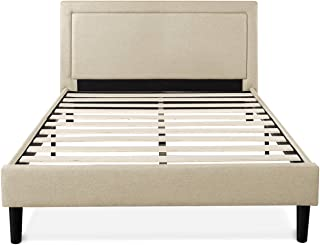 Zinus Mckenzie Upholstered Detailed Platform Bed / Mattress Foundation / Easy Assembly / Strong Wood Slat Supports, Queen