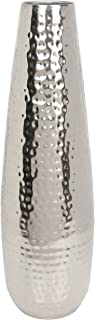 """Hosley Teardrop Hammered Metal Vase, Silver Finish - 16.5"""" High. Ideal for Dried Flower Arrangements, Decor, Gift for Spa, Wedding, Home or Votive Candle Candle Gardens O3"""