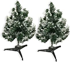BANBERRY DESIGNS Tabletop Christmas Tree Decorations - Set of 2 Small White Frosted Flocked Tabletop Tree - Approx. 12 Inc...