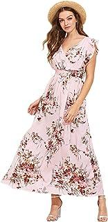 Milumia Womens Wrap V Neck Sundress Floral Boho Party Wedding Empire Waist Maxi Dresses