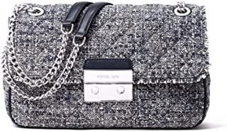 Michael Kors Women's Sloan Boucle Tweed Quilted Shoulder Bag Admial Navy Large