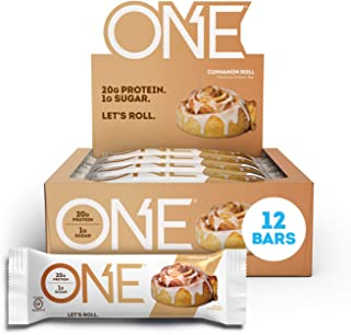 ONE Protein Bars, Cinnamon Roll, Gluten Free Protein Bars with 20g Protein and only 1g Sugar, Guilt-Free Sn...