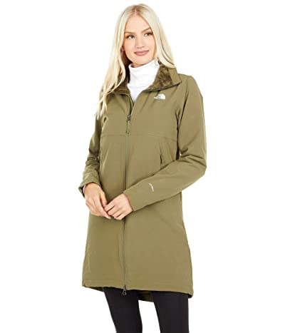 The North Face Shelbe Raschel Parka-Length Hoodless Jacket (Burnt Olive Green) Women