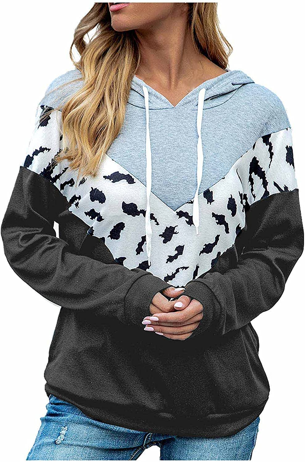 Women's Long Sleeve Leopard Printed Plus Size Tops Color Block Patchwork Hoodie Pullover
