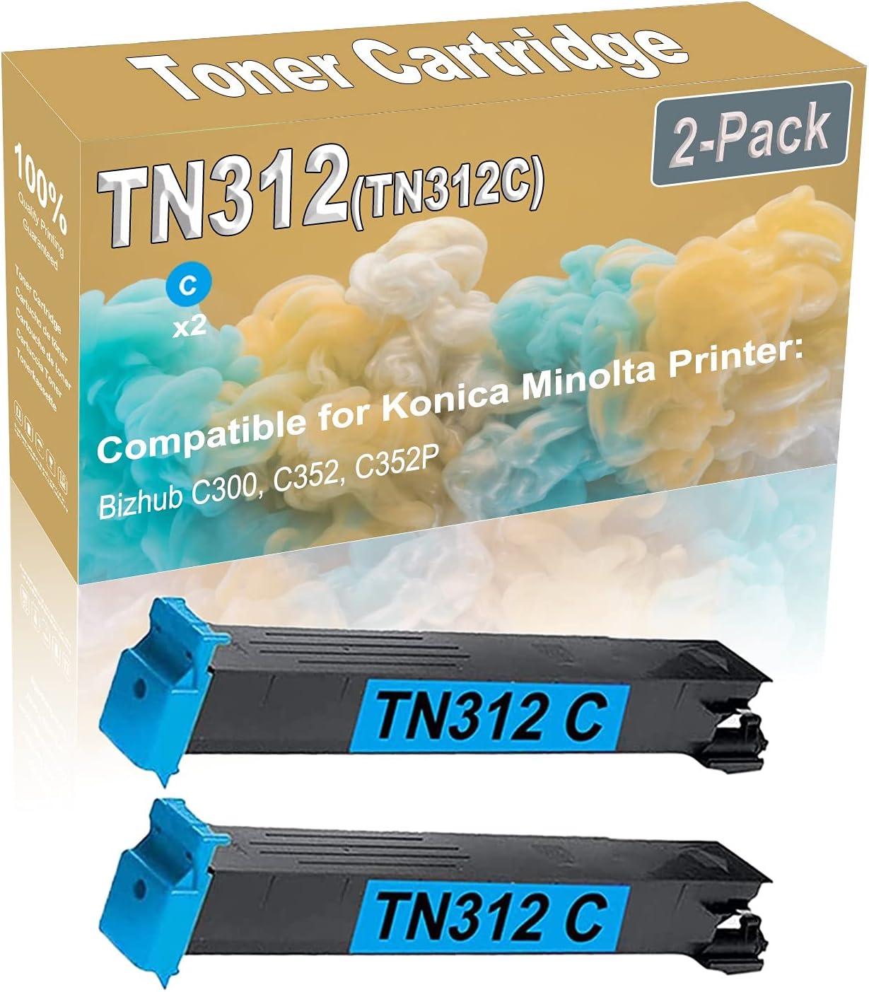 2-Pack (Cyan) Compatible High Yield TN312 (TN312C) Printer Toner Cartridge use for Konica Minolta Bizhub C300 C352 C352P Printers