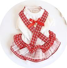 Cute Pet Costume Pet Clothes Spring and Summer Plaid Strap Pattern Pettiskirt_Cross Belt L