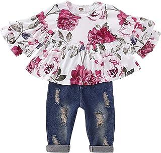 Chennie 3pcs Vestiti delle Ragazze Hanno Regolato i Pagliaccetti Bianchi del Manicotto Lungo dei Bambini Vestiti del Cappello Pantaloni del Fenicottero