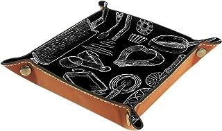 ATOMO Plateau de rangement en cuir noir et blanc pour outils de cuisine, clés, bijoux, articles divers, table de chevet, p...