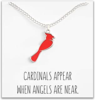 Cardinal Necklace For Women – Cute Red & Silver Charm – Cardinals Appear When Angels Are Near Message Card