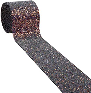 1Yards 3Inch Glitter Ribbon for Hair Bows-Wide Sheer Glitter Ribbon for Crafts-Glitter Ribbon for Wedding-Glitter Ribbon for Decoration-Glitter Ribbon for Dressmaking-Glitter Ribbon Gift Wrap (Purple)