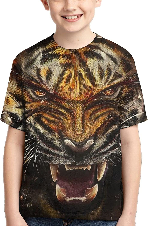 Angry Tiger Teens Unisex Round Collar Tops Fashion Children's T-Shirt Graphic Short Sleeve Shirt Tees Boys Girls