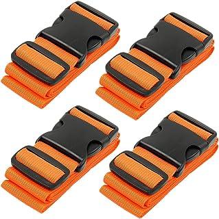 BlueCosto 4X Orange Luggage Straps Suitcase Strap Belts + 1x Green Travel Bag Tag Label