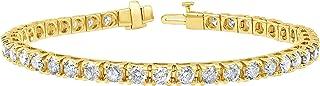 Sponsored Ad - 2.00-15.00 Carat Diamond, Tennis Bracelet (J-K, I2-I3) 14K Gold 4 Prong Set Round-cut Diamond Bracelet by L...