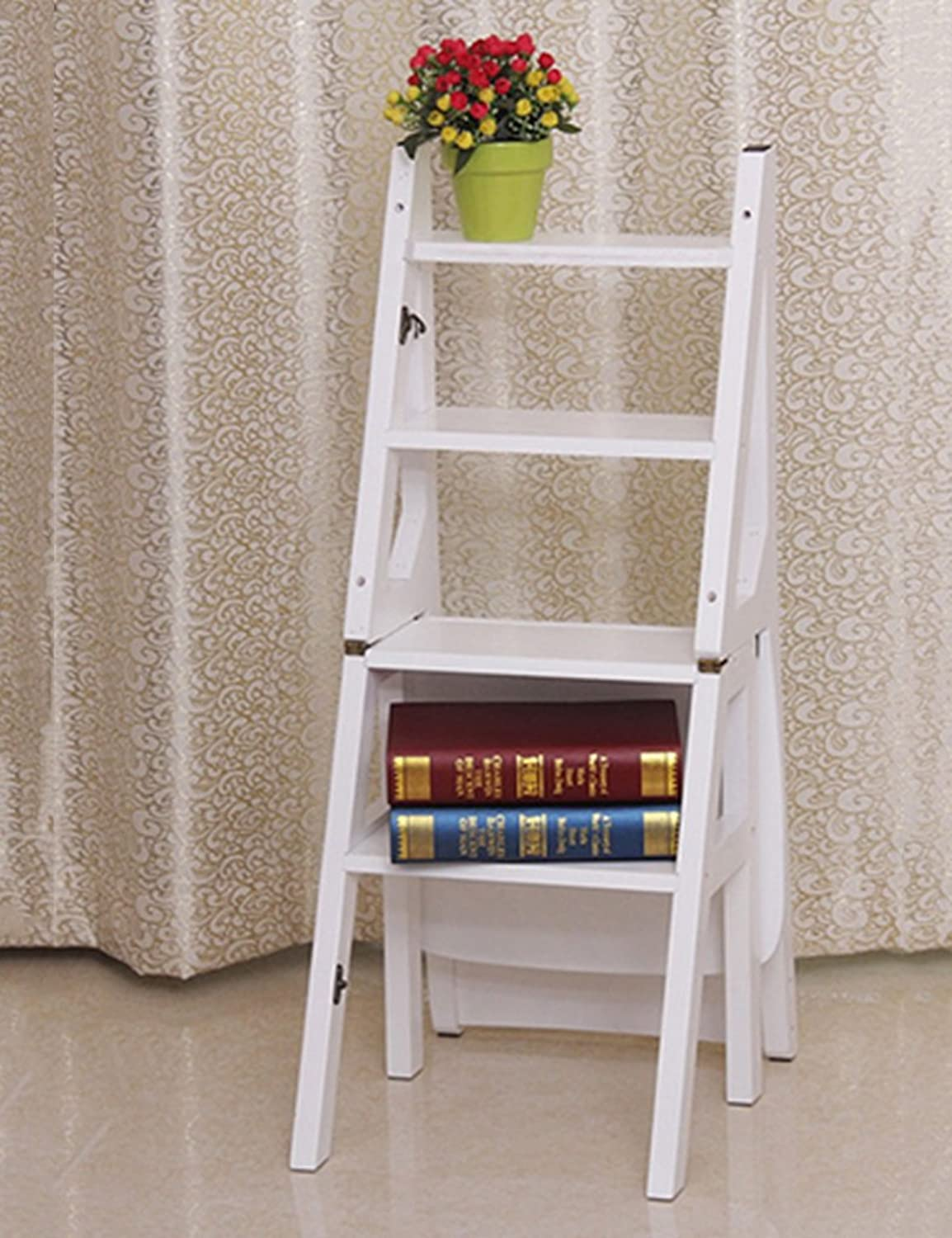 KLEDDP Solid Wood Folding Ladder Chair Home Multi-function Step Stool 4 Layer Dual-purpose Multi-function Staircase Ladder Steps Step stool (color   D)