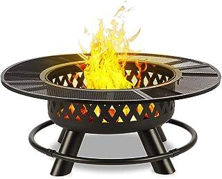 blumfeldt Rosario 3-in-1 Feuerschale: Feuerstelle, Grill & Tisch in einem - riesig: Durchmesser 120 cm, schwenkbarer & höhenverstellbarer Grillrost aus V2A Edelstahl: Durchmesser 75 cm, Stahl, Graphitschwarz