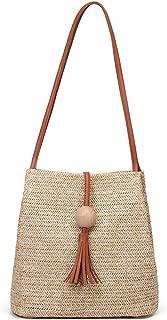 Straw Woven Handbag Beach Vacation Tote Purse Bag Large Capacity Shoulder Bag for Women and Girls