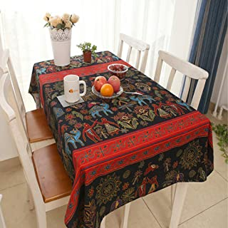 JMbeauuuty Washable Cotton and Linen Bohemian Pattern Tablecloth,Table Cover for Kitchen Dinning Tabletop 55x70 Inch