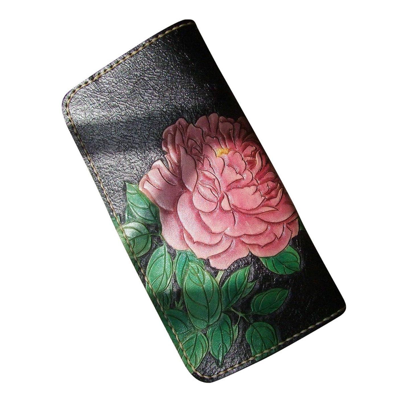 格納連帯なめるGPUFashionハンドメイドレザークラフト財布ブラックCarved withピンク牡丹