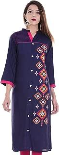 Chichi Indian Women Kurta Kurti 3/4 Sleeve Embroidered Straight Dark Blue Top