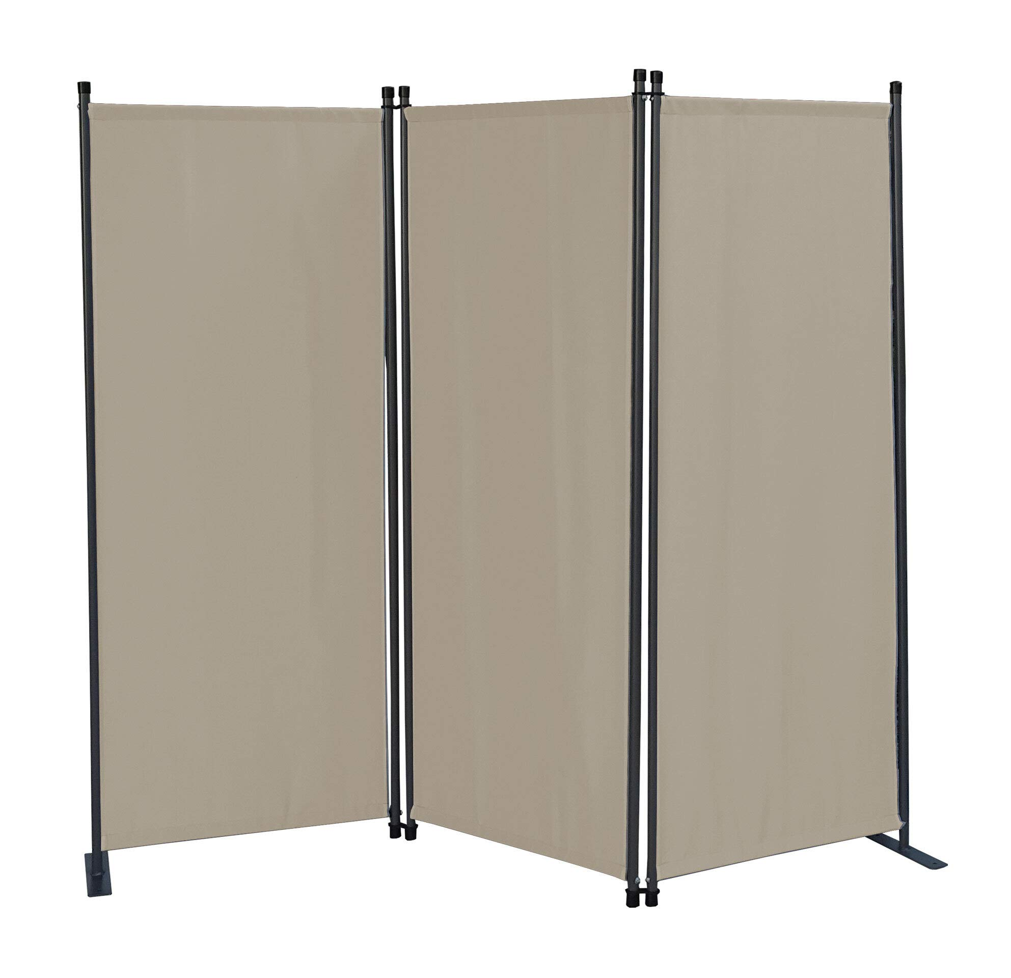 Quick Star 3 Piece Screen 170 x 165 cm Fabric Room Divider Garden Divider Balcony Privacy Screen Folding Grey