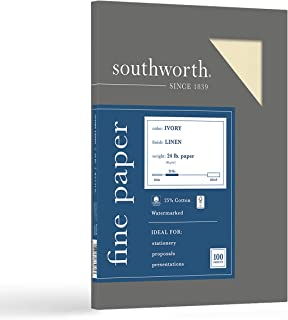 """Southworth 25% Cotton Business Paper, 8.5"""" x 11"""", 24 lb/90 gsm, Linen Finish, White, 100 Sheets - Packaging May Vary (P564..."""
