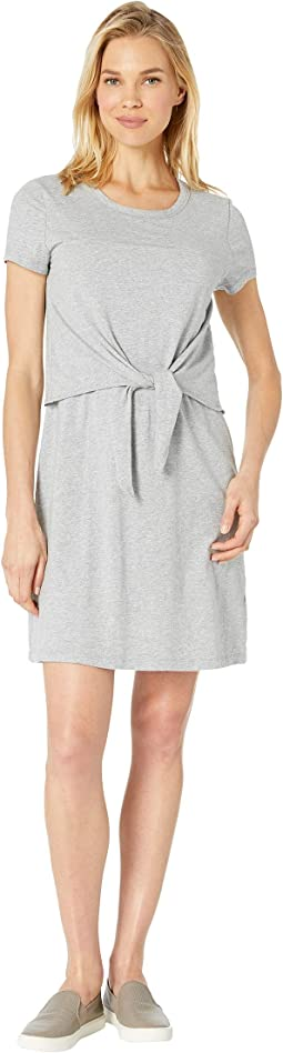 Short Sleeve T-Shirt Dress with Tie Front in Cotton Modal Spandex Jersey