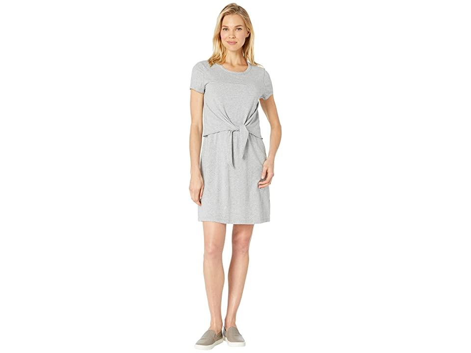 Mod-o-doc Short Sleeve T-Shirt Dress with Tie Front in Cotton Modal Spandex Jersey (Smoke Heather) Women