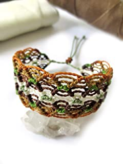 Brown White & Green Macrame Friendship Wide Waxed Cord/String Wristband Bracelet Handmade. Waterproof & Adjustable Sliding Knot. Papacho Creations.