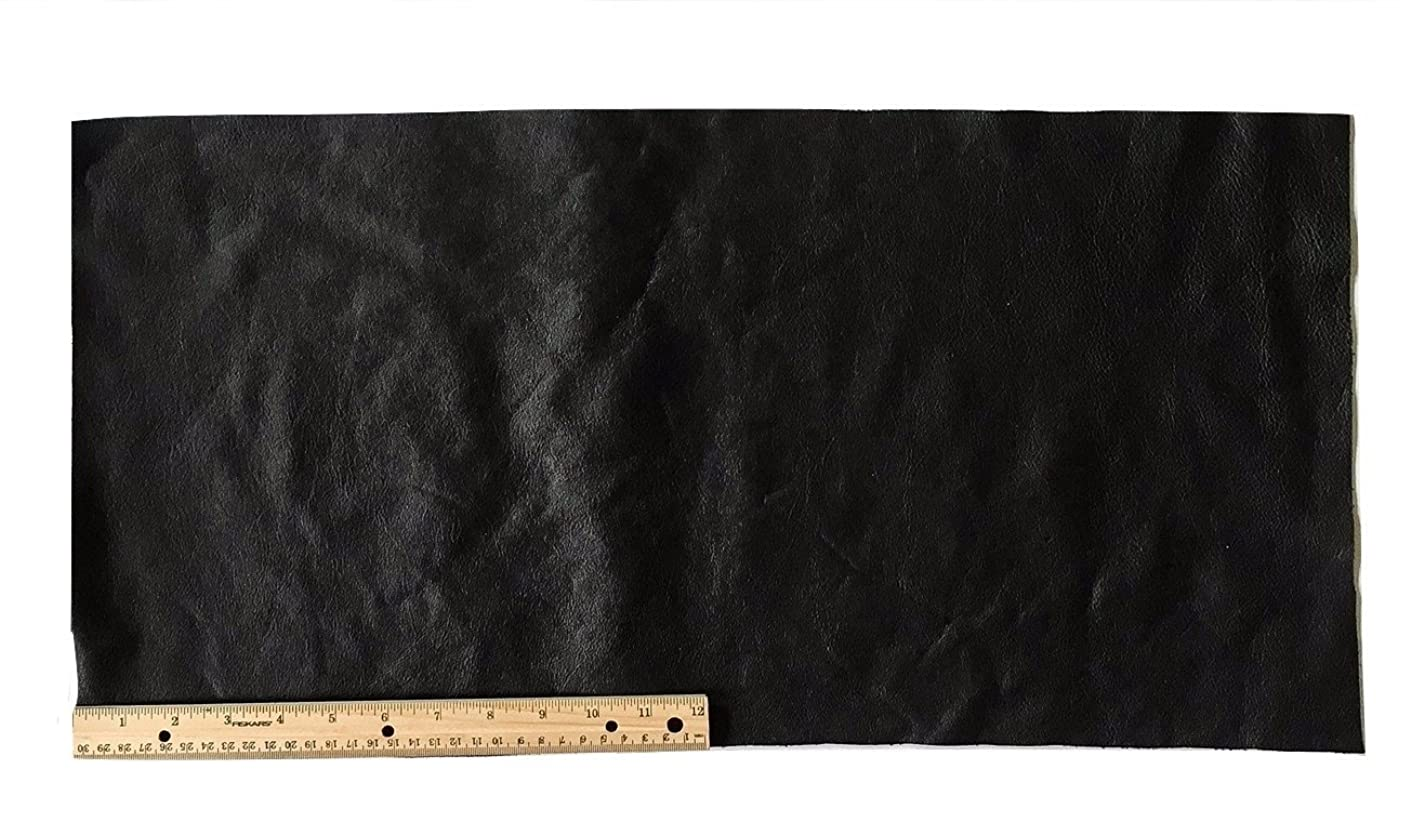 A-1 Upholstery Leather Piece Cowhide Black Light Weight 12 x 24 inches 2 SF