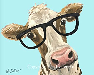Cow art Print, Miss 'MooMoo' Cute cow with glasses