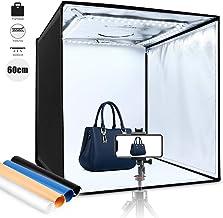 Amzdeal Caja de Luz Fotografía 60x60x60cm Portátil Plegable LED 5000LM 5500K, 4 × Fondo Azul/Blanco/Negro/Naranja, Velcro Fijación Fuerte Fácil de Instalar