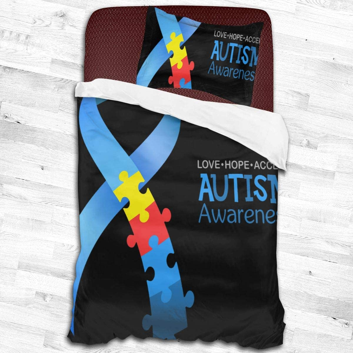 Bed Sheet Set Autism lowest price Awareness Gifts Puzzle Banner Blue Bedding Sheets