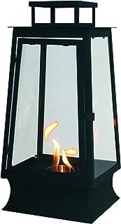 PURLINE MYSTIC Biochimenea farol con vidrio templado para uso interior y exterior