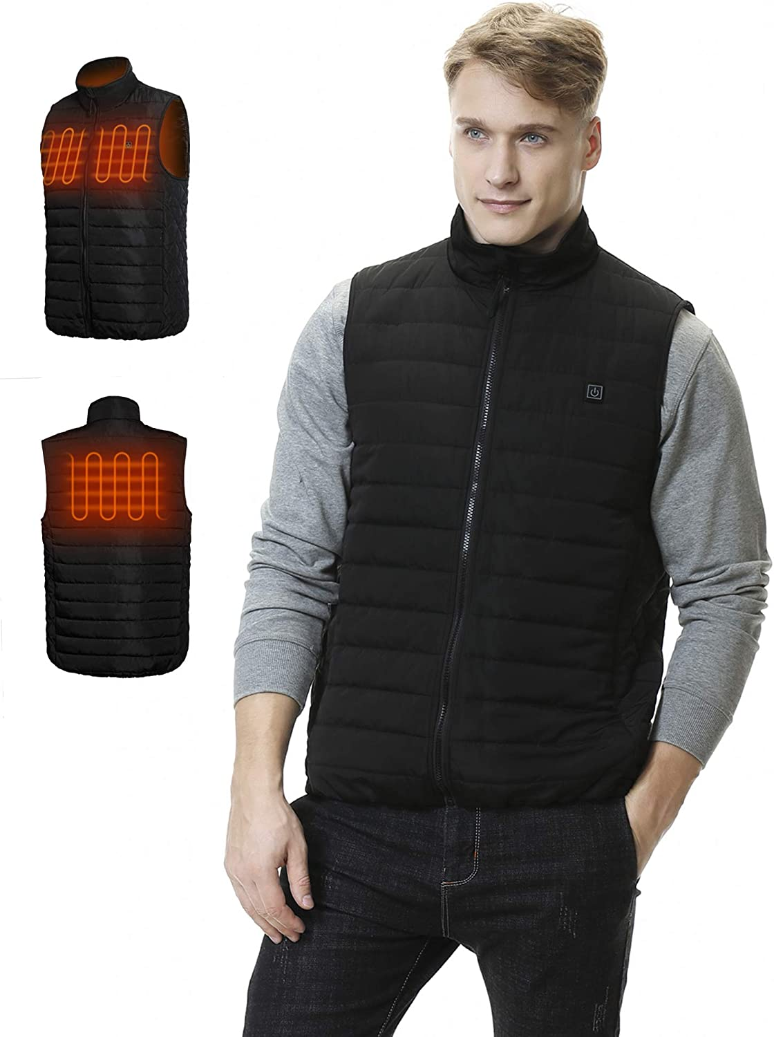 Aoymay Men's Heated Vest 5V USB Washable Heating Jacket Vest with Battery for Fishing Hunting Hiking Camping