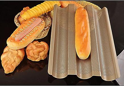meizhouer Baguette French Bread Baking Tray,Gold Color Baguette Frame Rack,Nonstick Carbon Steel Baguette Bread Baking Mold Pans