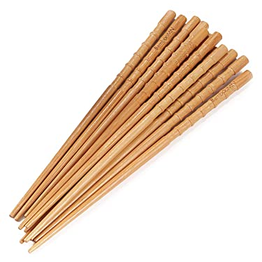 "BambooMN - Bamboo Chopsticks Japanese Chopsticks Set Knobby 9"" - 6 Sets"