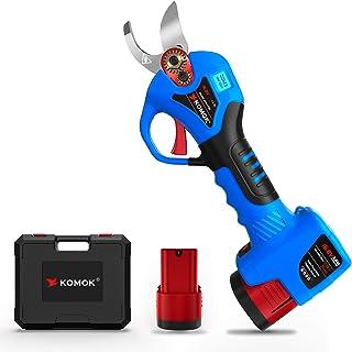 قیچی های هرس برقی KOMOK ، باتری قابل شارژ ، دستگاه های برش دهنده حرفه ای بی سیم ، برش قیچی ، یکی دیگر از تیغه های جایگزین قوی برای باغ ، گل سرخ ، درخت میوه سیب ، شعب