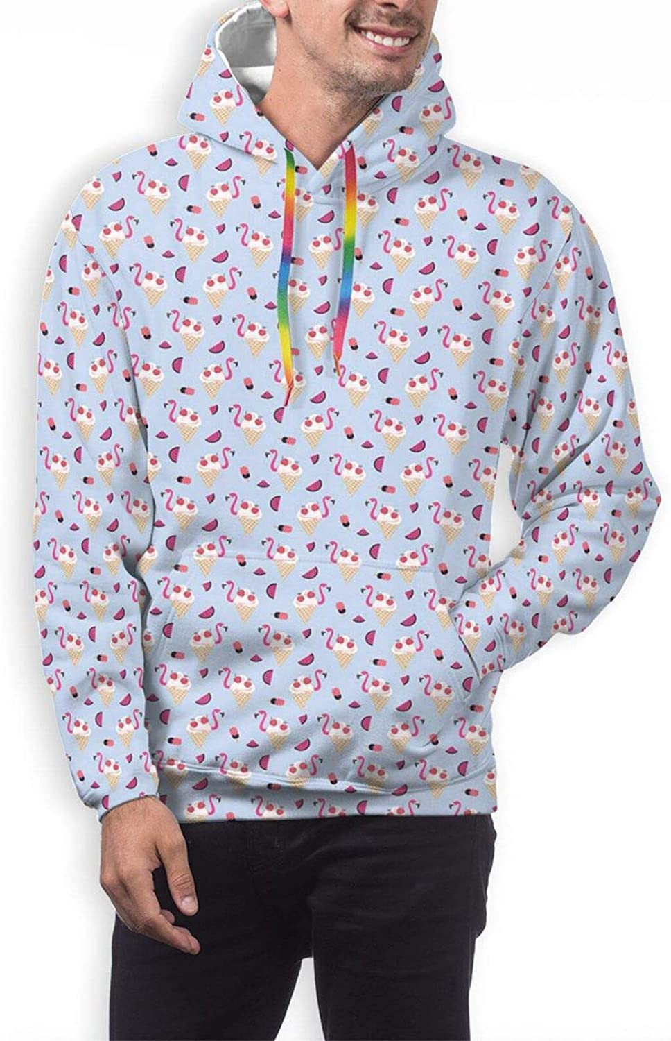 Men's Hoodies Sweatshirts,Abstract Design with Cheery and Flamingo Topping Ice Cream and Watermelon Slices