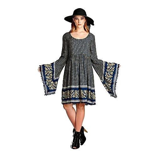 88f9da7206d Velzera Paisley Print Dress with Bell Sleeves Boho Chic Plus Size