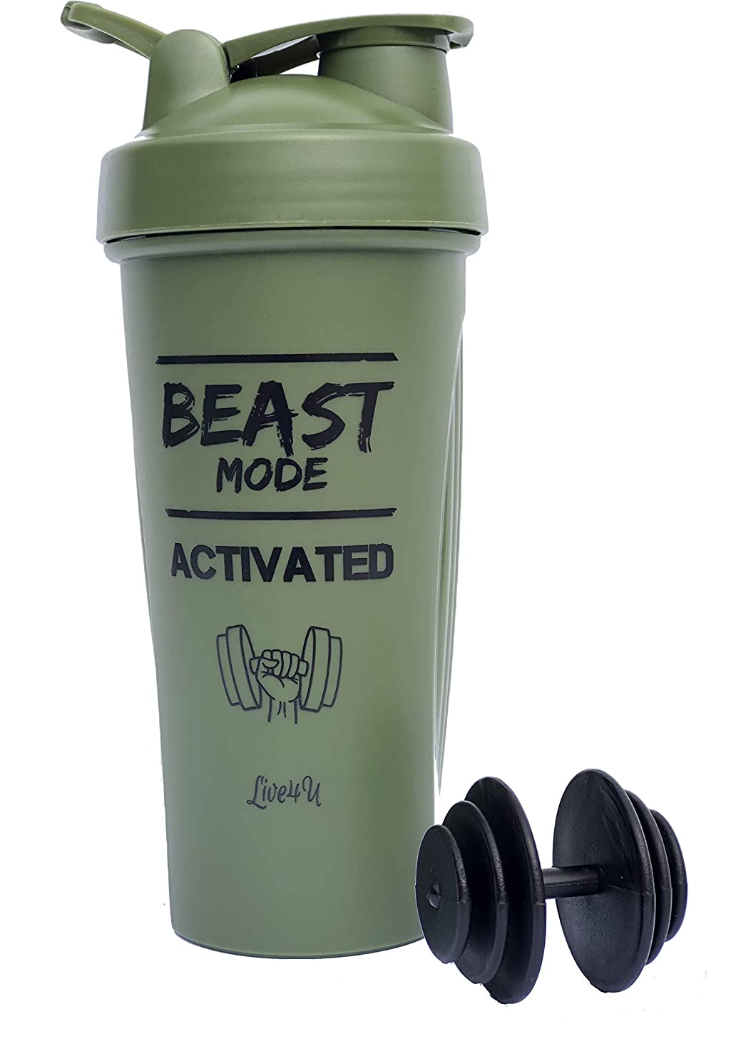 Live4U Protein Shaker Bottle – 28oz/600ml, Great for Supplement Mixes or Smoothies. Blend Your Favorite Fitness Sports Workout Nutrition Drink with Our Unique Mixball. BPA Free (Beast Mode)