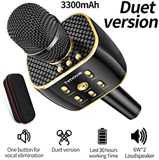 Karaoke Microphone Wireless, Dual Sing Duet Version 3300mAh Handhold Karaoke Mic Portable Wireless Microphone ,Dual Speakers Karaoke Machine for Outdoor Home Party KTV Playing Singing Music, Gift for Fun